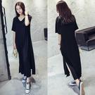 莫代爾洋裝 韓系閒隨性V領寬鬆開叉短袖超長連身裙811N417依佳衣