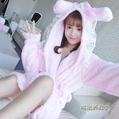 珊瑚絨睡袍女秋冬加厚法蘭絨卡通睡衣可愛甜美韓版學生家居服保暖「時尚彩虹屋」