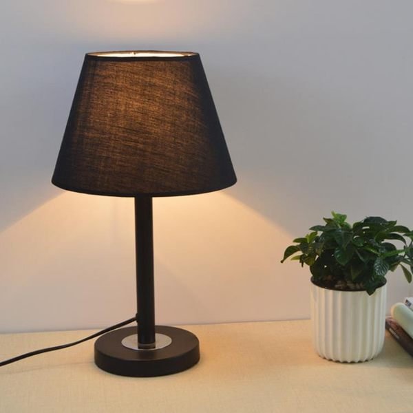 簡約現代黑色布藝裝飾床頭檯燈書房閱讀LED節能E27大螺口小檯燈BL 免運直出 交換禮物