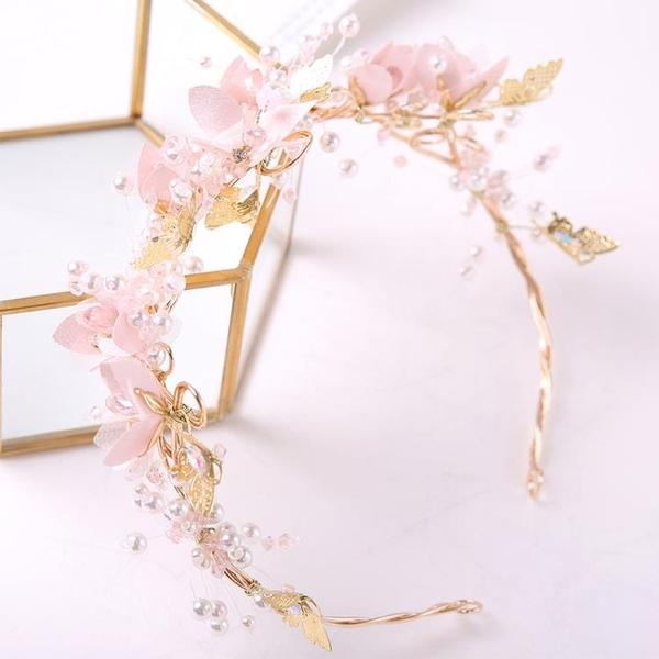 兒童皇冠頭飾公主粉色花仙子發箍頭花女童發飾花環走秀演出飾品