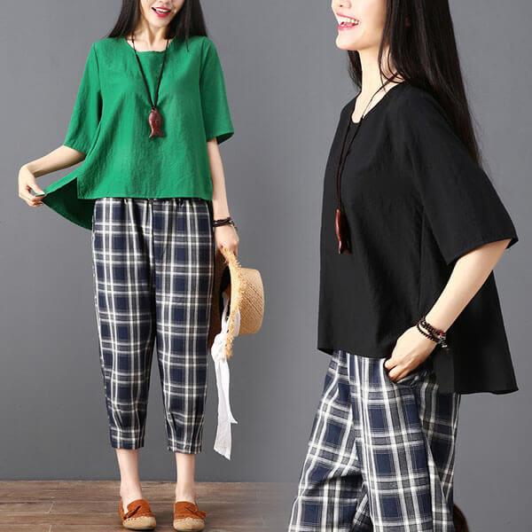 棉麻 素色寬鬆版上衣+格子7分褲套裝-中大尺碼 獨具衣格