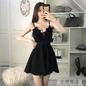 洋裝低胸性感衣服夜店小個子V領女裝吊帶裙遮肚裙子 錢夫人小鋪