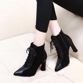 粗跟馬丁靴女2020秋冬新款百搭英倫風系帶尖頭瘦瘦靴高跟短靴子 後街五號
