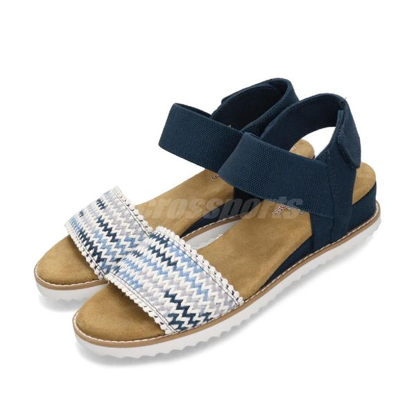 Skechers 涼拖鞋 Desert Kiss-Warm Breeze 深藍 白 女鞋 休閒涼鞋 【PUMP306】 32867NVMT