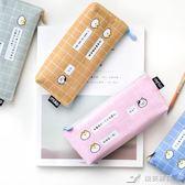 卡通可愛格子貓筆袋創意帆布大容量拉鏈鉛筆袋文具收納袋 樂芙美鞋