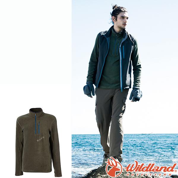 Wildland 荒野 0A52502-48深墨綠 男彈性PILE保暖衣 輕量/爬山健行休閒衫/保暖衣