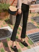 新款春秋季高腰黑色微喇叭牛仔褲女八分九分垂感寬鬆直 花樣年華