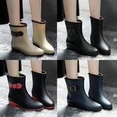 時尚韓國雨鞋女成人雨靴女士馬丁膠鞋中筒水靴防水鞋短筒防滑套鞋 卡布奇诺