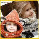 狐狸手工毛線立體耳朵圍巾連帽披風 護耳帽...