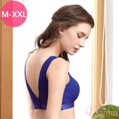 (M-XXL)時尚運動蜂巢無痕透氣V領後扣背心式內衣_藍【Daima黛瑪】8015