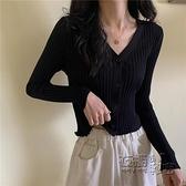 黑色針織長袖短款上衣女秋季新款v領緊身顯瘦開衫修身外套 雙十二全館免運