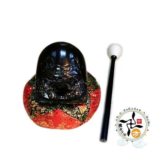 黑檀精雕雙魚木魚1.5吋+金蔥布棉座3.5吋+平安小佛經 【十方佛教文物】