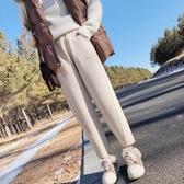 秋冬新款毛呢哈倫褲女寬鬆韓版煙管奶奶褲大碼休閒蘿卜西裝褲   koko時裝店