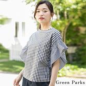 「Hot item」2WAY格紋荷葉袖拼接上衣 - Green Parks