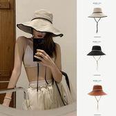 簡約漁夫帽時尚飄帶大檐帽子女夏戶外出游防曬遮陽帽【聚寶屋】