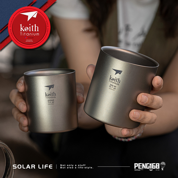 鎧斯Keith Ti3501 純鈦杯雙層保溫杯 4件套組.純鈦雙層保溫杯組 隔熱斷熱杯 露營野餐杯 鈦啤酒杯