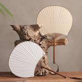 日式和風團扇 手繪空白紙扇布面夏天扇子 中國風雙面圓形古典宮扇 居樂坊生活館