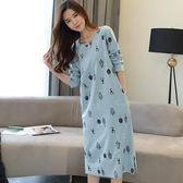 睡裙 長袖睡裙女純棉韓版加大碼超長款寬鬆全棉過膝長裙睡衣可外穿  琉璃美衣