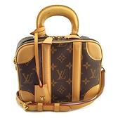 【奢華時尚】限量絕版款!LV 經典字紋帆布VALISETTE BB手提斜背兩用化妝箱包(八八成新)#25009