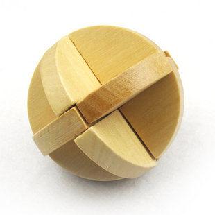木制玩具 成人益智玩具 孔明鎖魯班鎖解鎖類 原色魯班球