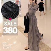 SISI【D6020】波西米亞風甜美韓版縮腰顯瘦大襬莫代爾棉長袖拖地長裙洋裝連身裙