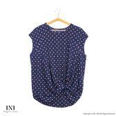 【INI】HOT SALE!涼感風格、圓點印花造型設計感上衣.藍底粉點