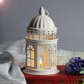 簡約鐵藝風燈白色城堡蠟燭臺田園裝飾燈擺件【時尚大衣櫥】