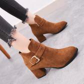 馬丁靴 短靴女粗跟高跟2019新款復古百搭時尚馬丁靴磨踝靴女靴夏【星時代女王】