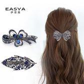 正韓復古水鉆彈簧夾蝴蝶結頂夾髮飾飾品髮夾馬尾夾女髮卡成人頭飾