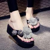 灰色/39號 坡跟夾腳人字拖鞋 女厚底沙灘涼鞋