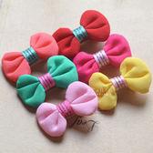 糖果色軟布蝴蝶結髮夾 兒童髮飾 髮夾 布藝髮夾