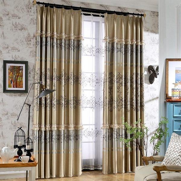 雙十一返場促銷歐式窗簾遮光隔熱布加厚隔音臥室成品繡花布客廳窗簾