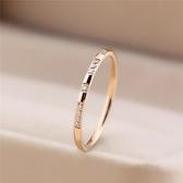 日式輕奢戒指網紅少女簡約鑚石鈦鋼玫瑰金食指尾戒小指環小眾設計1 幸福第一站