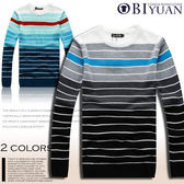針織衫 【F86026】OBI YUAN韓版時尚海洋色系多層次條文彈力毛衣共2色