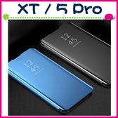 realme XT realme 5 Pro 新款鏡面皮套 免翻蓋手機套 金屬色保護殼 側翻手機殼 簡約電鍍保護套 PC硬殼