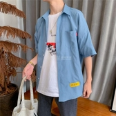 夏季小清新帥氣短袖襯衫男寬鬆寸衣港風ins潮流韓版五分袖薄外套 滿天星