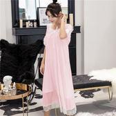 中大尺碼 仙女睡裙夏純棉性感中長款公主吊帶睡衣 zm1272【每日三C】