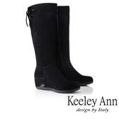 ★2018秋冬★Keeley Ann雅緻低調~蝴蝶樣後綁帶楔型鞋感長靴(黑色)