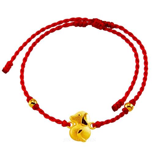 甜蜜約定金飾-好運12生肖-狗-紅繩黃金手鍊