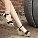 楔型鞋 真皮坡跟涼鞋 厚底高跟鞋平底大碼鬆糕