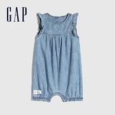 Gap嬰兒 純棉荷葉邊牛仔包屁衣 797485-淺色水洗
