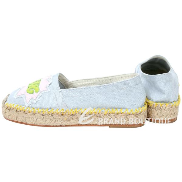 Chiara Ferragni Pow Bang 動漫文字拼接帆布草編鞋(水藍色) 1620627-27