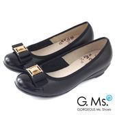 G.Ms. * MIT系列-全真皮鑽飾織帶蝴蝶結小坡跟鞋-品味黑
