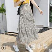 春夏不規則蛋糕波點半身裙女多層次法式復古裙雪紡A字裙秋冬裙子JA8567『毛菇小象』