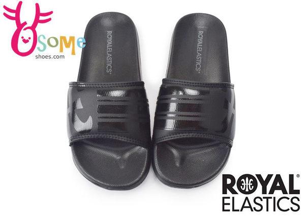 Royal Elastics運動拖鞋 男/女 logo 條紋 輕量 防水拖鞋H5608#黑色◆OSOME奧森童鞋/小朋友