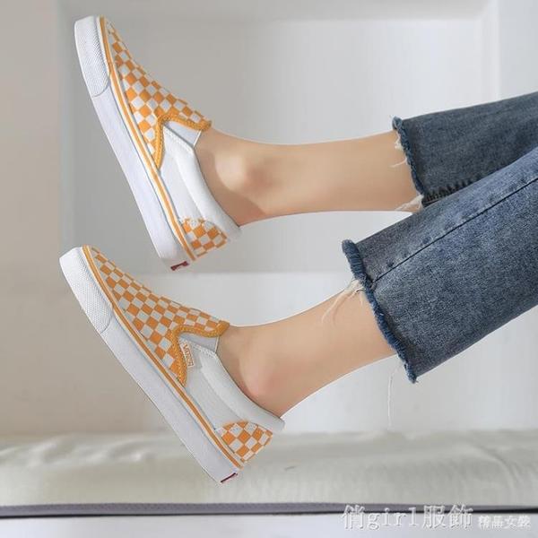 樂福鞋 黃色格子一腳蹬帆布鞋百搭樂福鞋學院chic男女布鞋潮 開春特惠