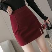 半身裙·A字短裙S-XL9289秋冬開叉小皮裙顯瘦A字包臀裙韓版高腰一步短裙T219D紅粉佳人