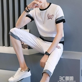 夏季2020新款短袖t恤套裝男潮休閒學生衣服搭配帥氣七分短褲一套 3C優購