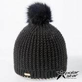 【PolarStar】小圓球造型保暖帽『黑』P17619 羊毛帽 毛球帽 素色帽 針織帽 毛帽 毛線帽 帽子