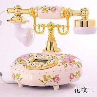仿古陶瓷電話機  有線電話【藍星居家】